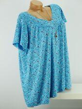 Shirt mit Kette Top Tunika Bluse Lagenlook Größe 46-54 one size türkis geblümt w