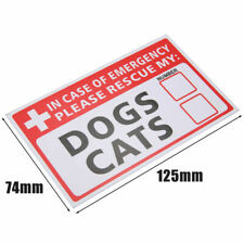 DOG CAT Health Pet Alert 999 Rescue Emergency Window Sticker FIRE Safety pup