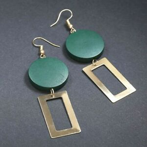 Big Statement Long Drop Earrings Very Dark Green and Gold Round Square Dangle UK