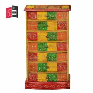 Pandora Hand Painted Indian Solid Wood 7 Drawer Tower Dresser (MADE TO ORDER)