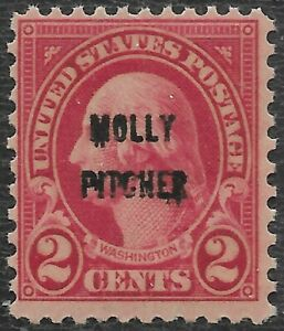 646 2 Cent Molly Pitcher Stretched Overprint.