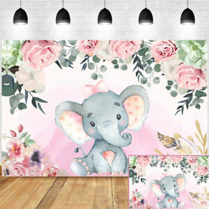 Elephant Baby Shower Birthday Party Photo Backdrop Photography Background 9x6ft