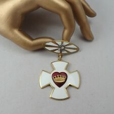 Vintage White Enamel Red Heart Crown Medal Merciful Honorable Brave Maltese Pin