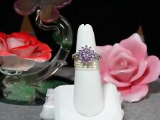 Madagascar Purple Sapphire Cambodian Zircon Flower Ring in 925 SS Size 8