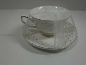 Grace's Teaware Fine Porcelain White / Gold / Accent Cup & Saucer Set NEW