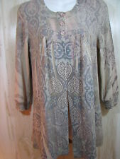 SUZIE COUTURE Size PM Sublimation Paisley Open Front Cardigan Sweater Petite Med