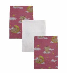 Teddy Bear Dreams 100% Organic Cotton Flannel Baby Girl Receiving Blankets X 3