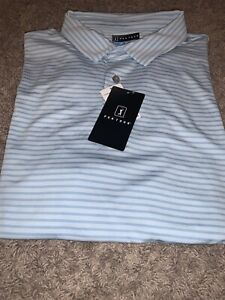 NWT Mens Striped Light Blue PGA Tour Polo Style Golf Shirt Large MSRP $60