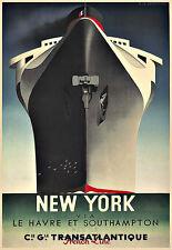 ART AD Normandie New York 1935 navire de croisière voyage DECO Poster Print