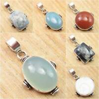 Natural CHALCEDONY & Other Gemstones Pendant, 925 Silver Plated HANDWORK Jewelry