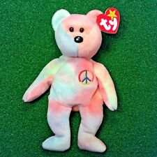 NEW Ty Beanie Baby PEACE Bear Retired Teddy - P.E. #102 - MWMT - FREE SHIPPING