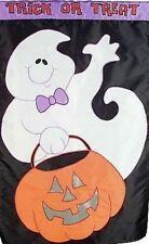New listing Halloween Ghost Treats Trick or Treats Pumpkin Large Applique' 28 x 44 Flag