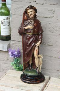 Antique French chalkware saint Roch dog figurine statue religious