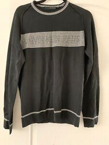 Mens Calvin Klein Jeans Fine Knit CK Logo Black Jumper Medium Pullover Stripe