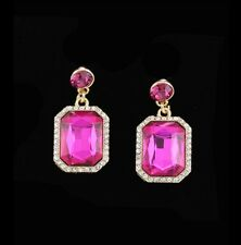 Earrings Pageant Drag Queen Prom Pink Fuchsia Crystals Rhinestones Emerald Cut