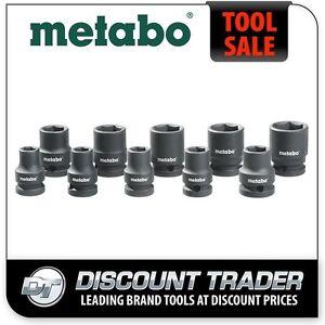 "Metabo 1/2"" Square Drive 10 Piece Impact Socket Set Metric + Case 6.28831"