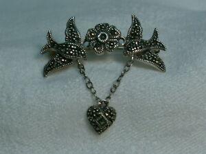 ..JUDITH JACK...Sterling Silver,Marcasites Love Birds,Flower,Dangle Heart Brooch