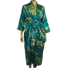 New Silhouettes Woman Spruce Green Print Charmeuse Long Satin Robe Sz 1X