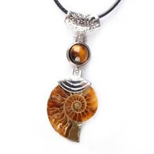 Women Ammonite Fossil with Natural Gem Stone Pendant Beach Style Necklace 18''