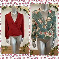 Atmosphere Wrap Blouse Top Size 10,12,16 & 18 Red Green Floral Long Sleeve GE69