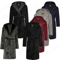 Mens 100% Polyester Fleece Warm Dressing Gown Robe Bathrobe
