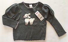 NWT Gymboree Tres Fabulous 3 3T Gray Poodle Dog Puff Sleeve Sweater