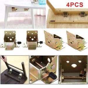 4Pcs Iron Folding Suitable Table Chair Leg Brackets Hinges Self Lock 75x60x55mm