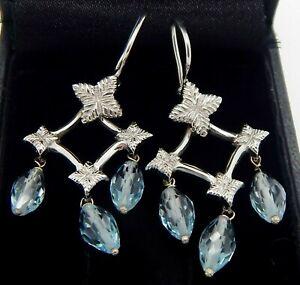 18k White Gold Natural Aquamarine Briolette Drop Chandelier Earrings 6.7 Grams