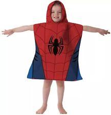 MARVEL ULTIMATE SPIDER-MAN HOODED PONCHO KIDS CHILDRENS VELOUR BEACH BATH TOWEL
