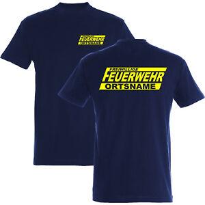 Feuerwehr T-Shirt Druck beidseitig neongelb mit Ortsnamen 110 - 5XL - 185g/m²