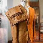 Dark Khaki Suits For Men 2 Pieces Linen Pleated Pant Formal Wedding Office Suits