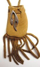 "Tribal design medicine bag-  buckskin draw (""flame"") charm"