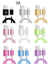 3 x Micro USB Kabel Nylon Ladekabel Datenkabel Samsung HTC LG Sony Huawei 1,5m