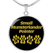 Small Munsterlander Pointer Mama Circle Necklace Stainless Steel or 18k Gold 18-