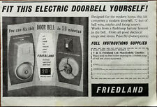 V & E Friedland Ltd. Fit This Electric Doorbell Yourself! Vintage Advert 1957