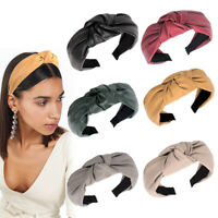 Women PU Leather Headband Solid Color Top Knot Wide Hair Hoop Hair Accessories
