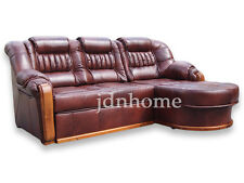 Corner Sofa Bed with Storage, Real Leather, left / right hand side