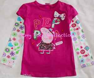 NEW BNWT with tags girls long sleeve peppa top tshirt shirt size 1