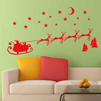 Christmas Wall Sticker Santa Sleigh Reindeer Shop Window Vinyl Decal Transfer