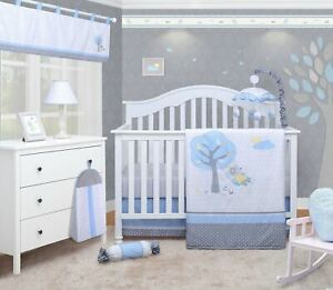 OptimaBaby 8PCS Blue Little Puppy Dog Baby Bedding Sets with Mobile Lamp Shade