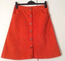 Bright Tangerine Fine Stretch Cotton Cord A-line 6 Button 2 Pockets Skirt W30