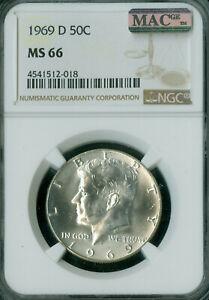 1969-D KENNEDY HALF DOLLAR NGC MAC MS66 PQ 2ND FINEST MAC SPOTLESS .