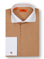 Men's Steven Land  Copper/White Spread Collar and French Cuffs Dress Shirt DW516