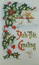 Postcard Christmas Yule-Tide Greeting Holly and Berries