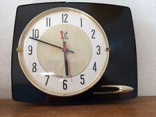 horloge pendule vintage formica noir JAZ   année 50 60 70