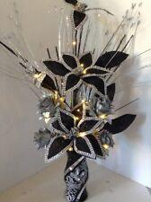Artificial Flower Arrangement Black Flowers In Black Glitter Vase Lights Up