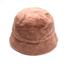 NWT Supreme x Lacoste Light Maroon Velour Crusher Box Logo Bucket Hat AUTHENTIC
