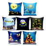 Christmas Pillow Case LED lights Up Cotton Linen Throw Cushion Cover Home Decor