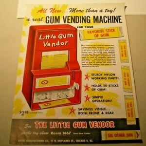 1961 The Little Gum Vendor double sided full color dealer flyer L@@K!