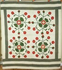 Elegant Vintage 1880's Whig Rose Applique Antique Quilt ~AMAZING CONDITION!